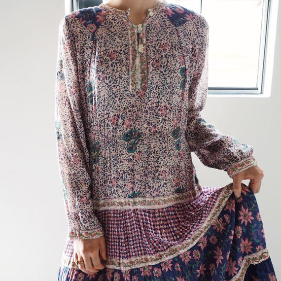 1970s Indian Cotton Gauze Floral Dress
