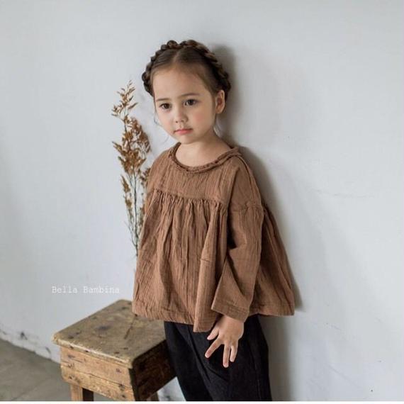 【再入荷】gauze wide blouse*brown