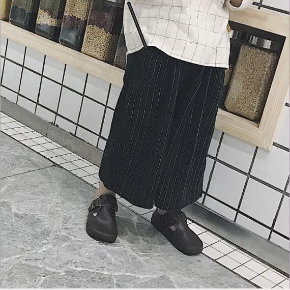 stripe wide pants*black