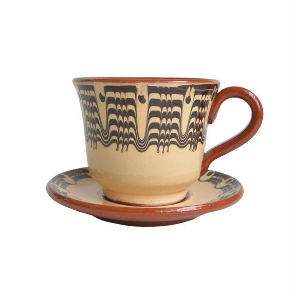 """troyan"" cup & saucer  -white-  bulgaria hand made / monotone(tc-w)"