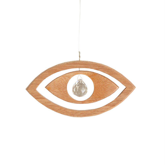 """eye"" crystal × wood suncatcher  (so010)"