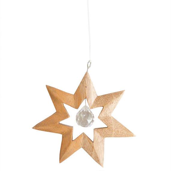 """""""star"""" crystal × wood suncatcher (so009)"""