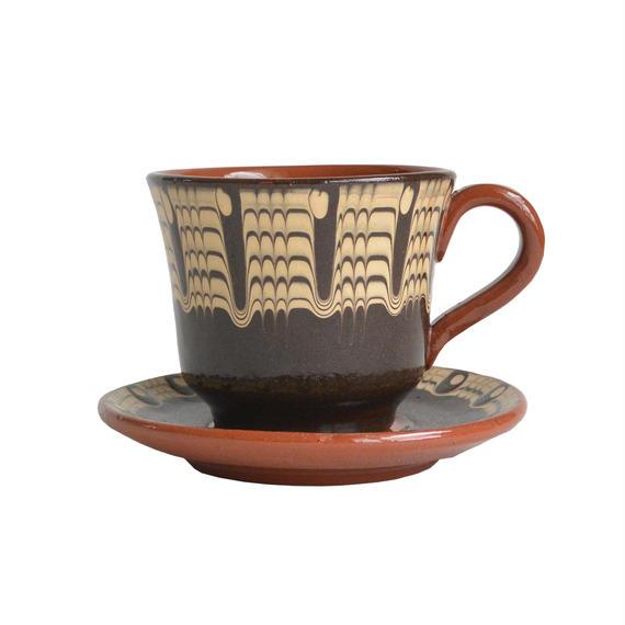 """troyan"" cup & saucer  -black-  bulgaria hand made/ monotone (tc-b)"