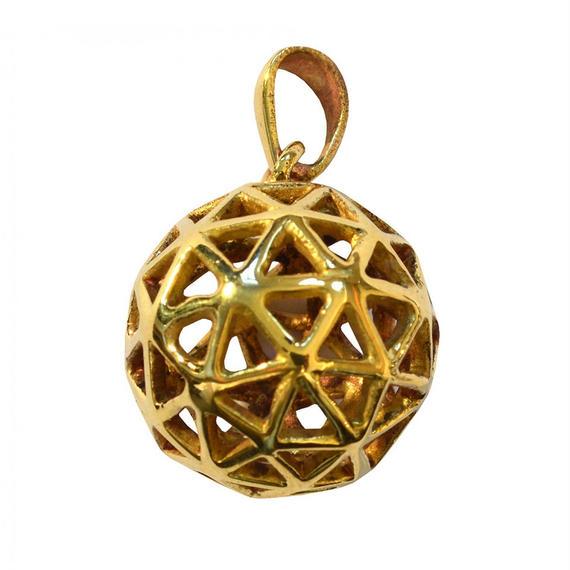 """""""christ grid"""" gold brass  ball pendant top  (sat006)"""