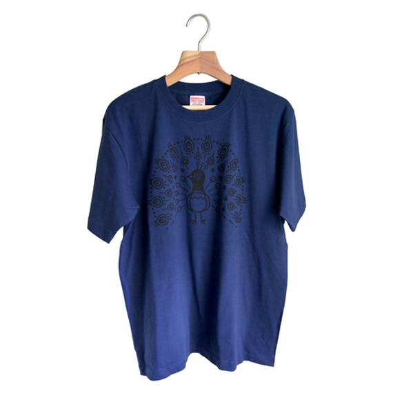 孔雀Tシャツ(紺)