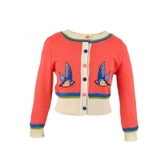 classic cardigan/swallow/hot coral2-4y