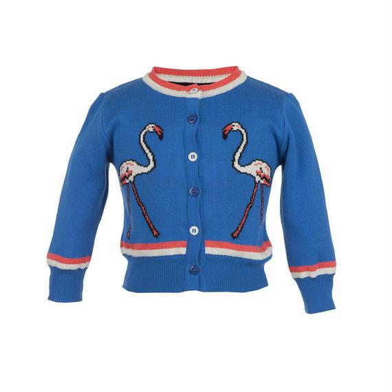 flamingo cardigan/royal blue/4-7y