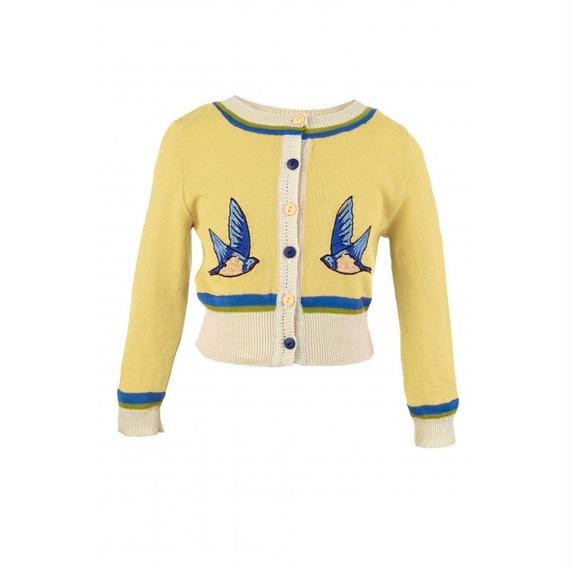 classic cardigan/swallow/lemon 2-4y