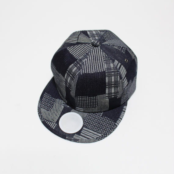 6 panel cap (man) indigo patchwork