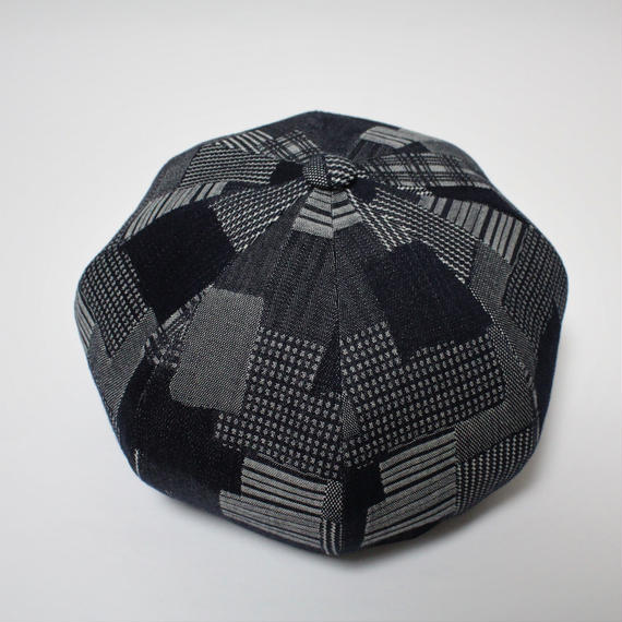 big beret (man) indigo patchwork