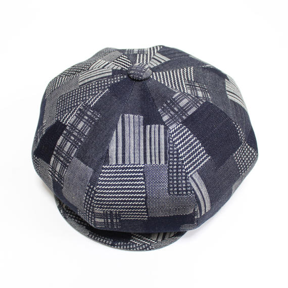 big casquette (man)indigo patchwork