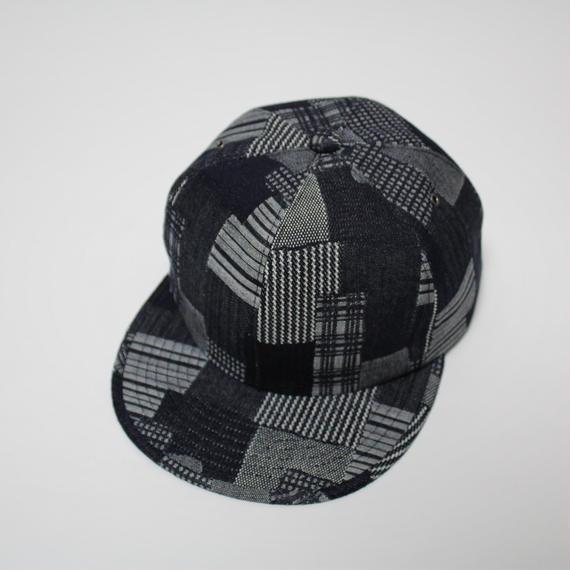 6 panel cap (man) indigo patchwork