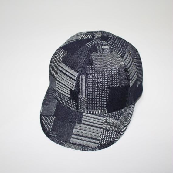 6 panel cap (woman) indigo patchwaork