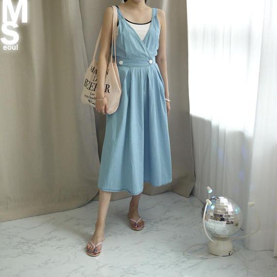 ★送料込◆デニムバンディングサスペンダースカート♥