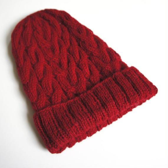 ケーブル編み帽/バーガンディ ベビーアルパカ100%