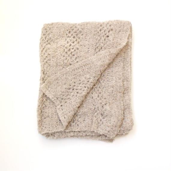 【新商品】アルパカ手編みの大判ストール ブークレ ライトベージュ_SH002-BE