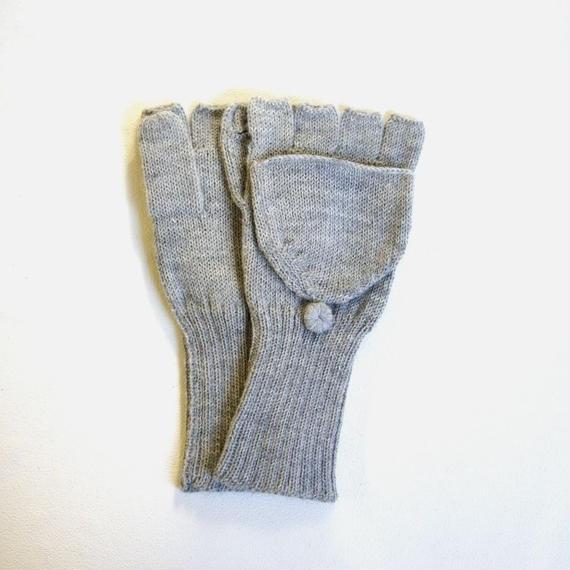 指が出せる手袋 ベビーアルパカ  ライトグレー