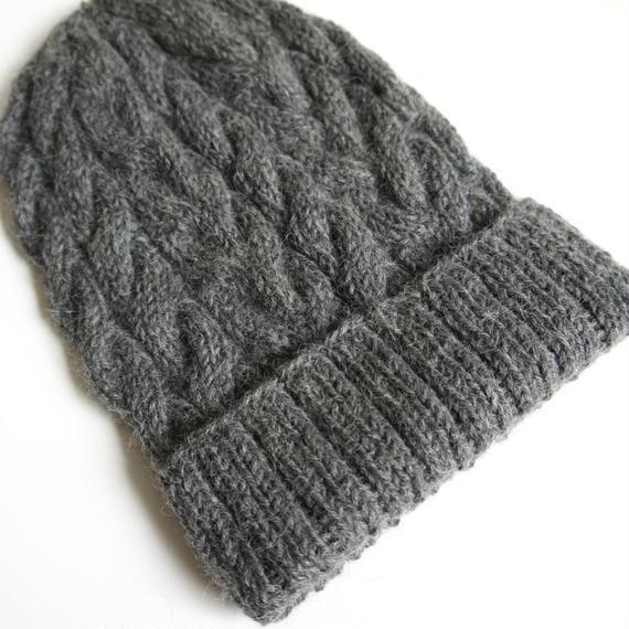 ケーブル編み帽/グレー ベビーアルパカ100%
