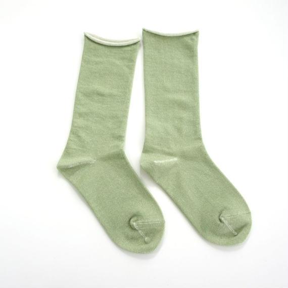 ペルーコットンのゴムなし靴下 グリーン_SO005-GR
