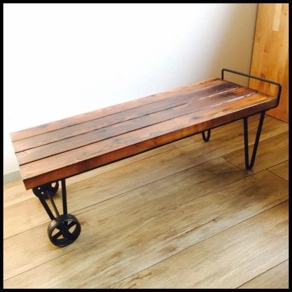 無垢古材 アンティーク車輪付きローテーブル