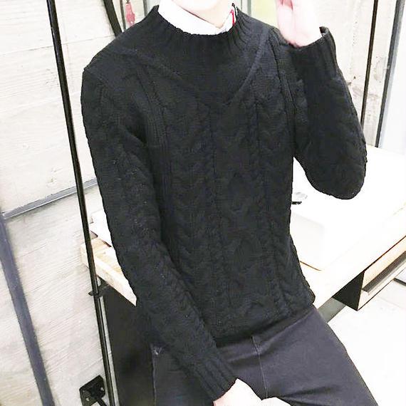 ケーブルニット ハイネックセーター ブラック