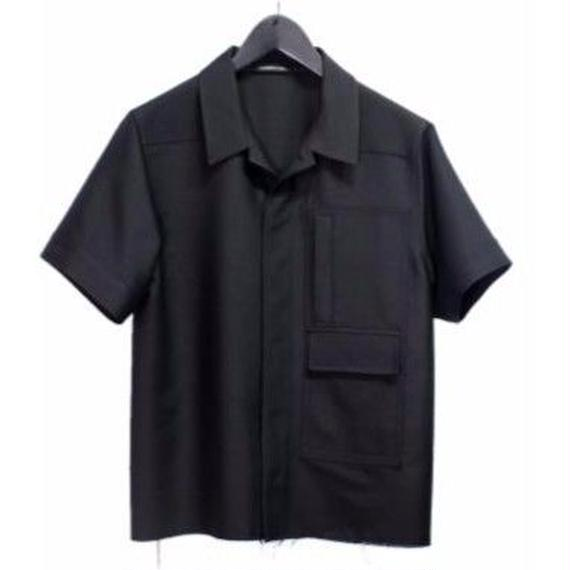 PETHIDINE IN PEARL ローエッジィ 半袖 シルク混 パッチドパネルシャツ