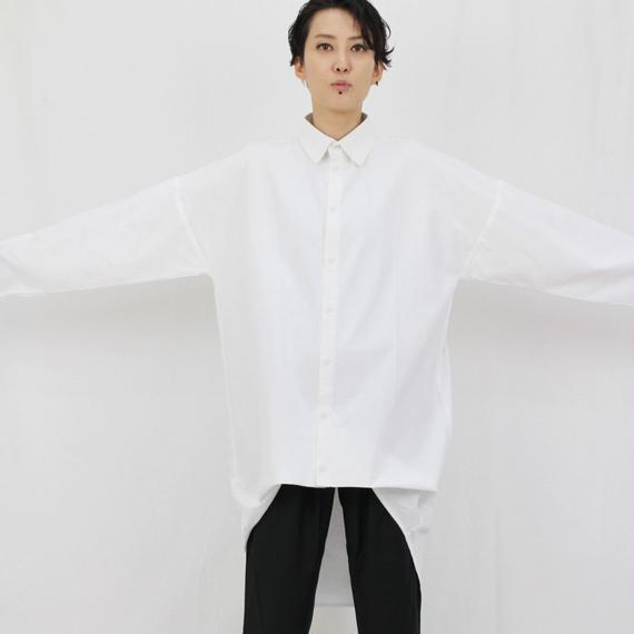 バルーン アシンメトリーヘム オーバーサイズシャツ  ホワイト