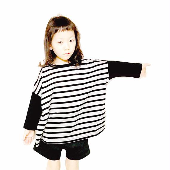 【NNF MB】シルケット天竺ボーダー7部袖ワイドTシャツ  120-145cm
