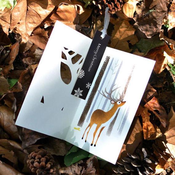 3コマ絵本カード[クリスマスカード]トナカイ:シルバー