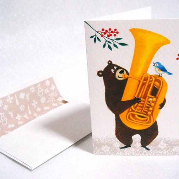 [メッセージカード]クマとコトリの音楽家