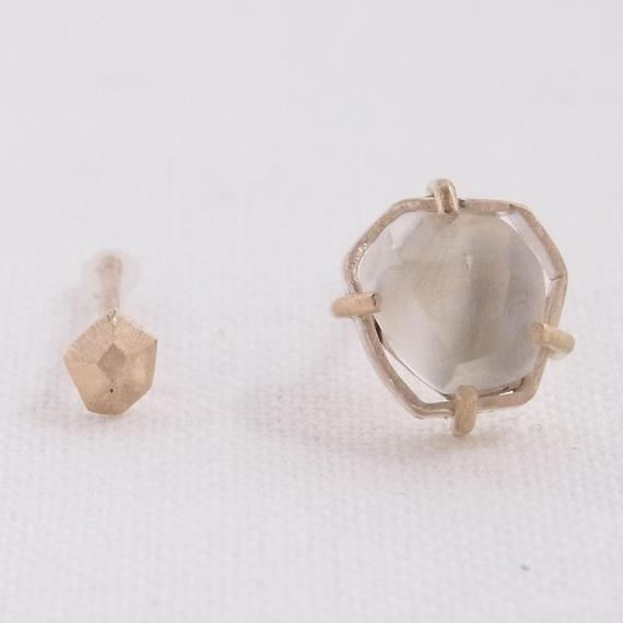 (B) K10 Topaz Asymmetry earrings