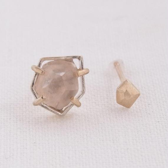 (A) Topaz K10 Asymmetry earrings