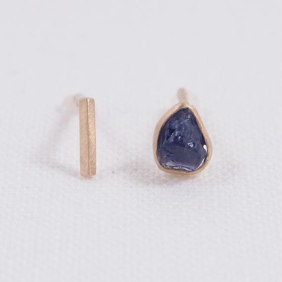 K10 Blue sapphire/Asymmetry Earrings