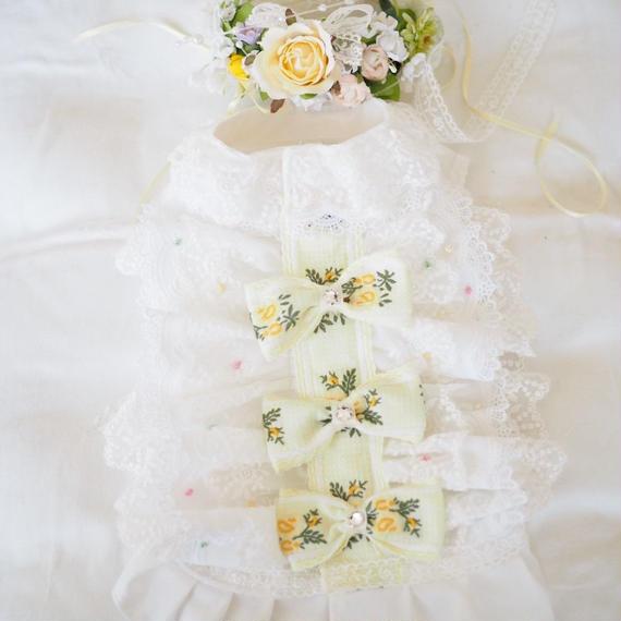 【Anniversary dress】Flower Girl  Lemon/Parti du Rubanさんコラボ花冠セット/Mサイズ
