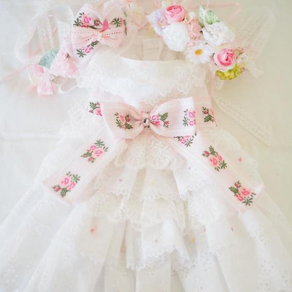 【Anniversary dress】Flower Girl Pink/Parti du Rubanさんコラボカチューシャ&花冠セット/Mサイズ