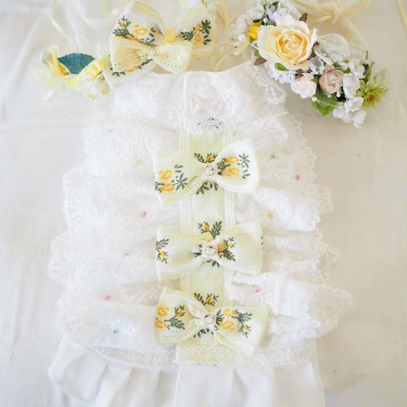 【Anniversary dress】Flower GIrl Lemon/Parti du Rubanさんコラボ花冠&カチューシャセット/Mサイズ