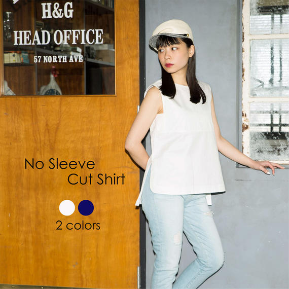 【Mhairi】No Sleeve Cut Shirt