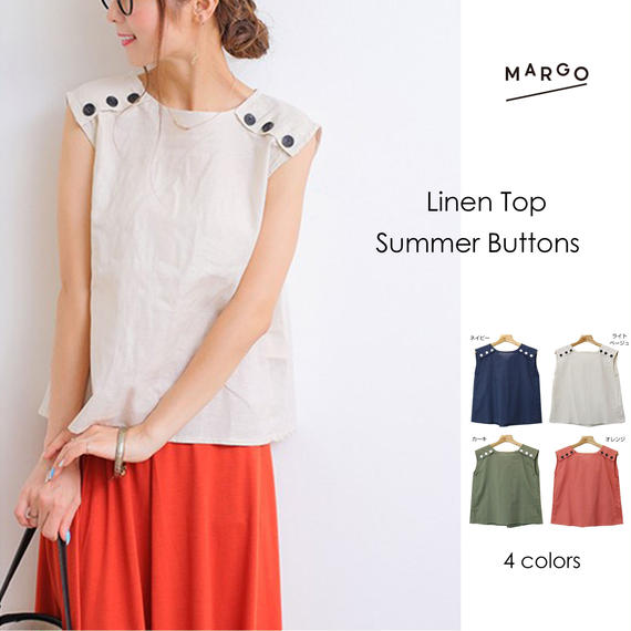 Linen Top Summer Buttons