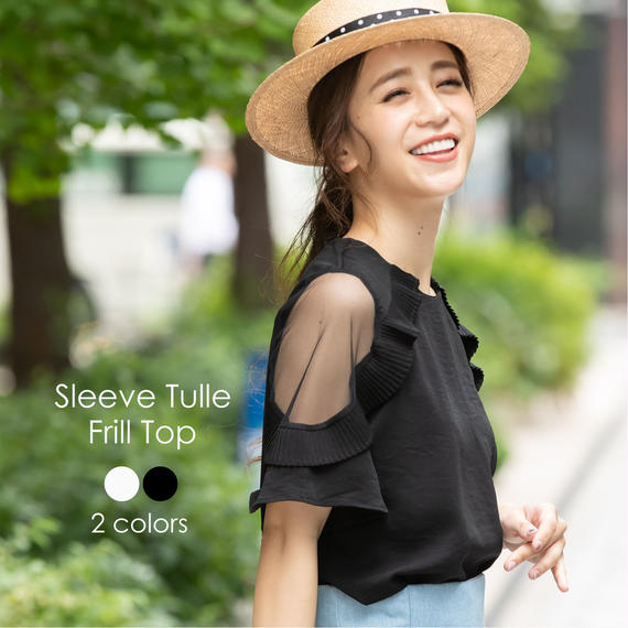 Sleeve Frill Tulle Tops