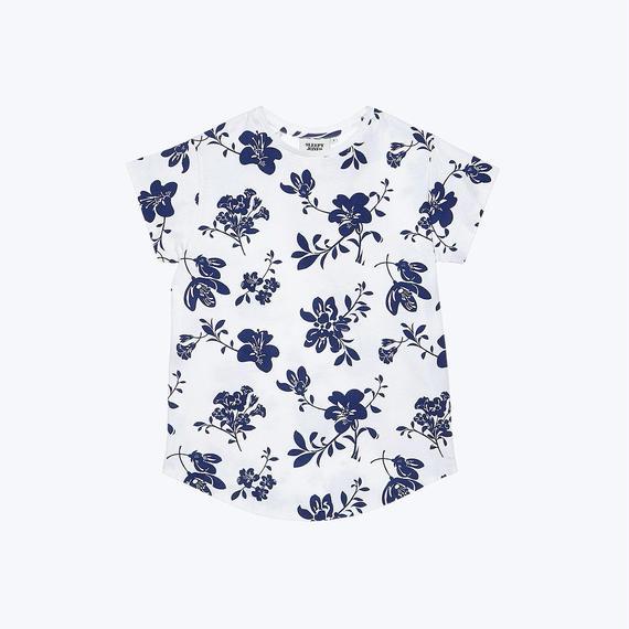 SLEEPY JONES // Floral Jersey White & Navy Pickford T-shirt