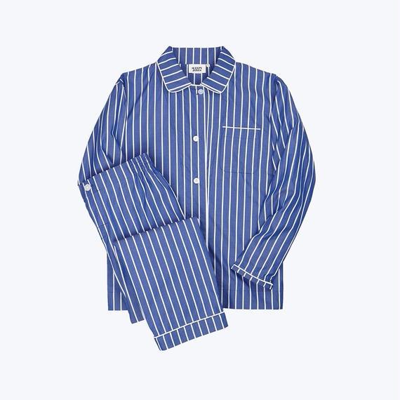 SLEEPY JONES // Bishop Pajama Set Tie Stripe Blue & White