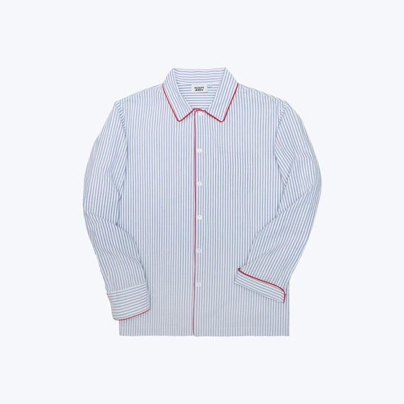 SLEEPY JONES // Henry Pajama Shirt Seersucker Stripe Blue