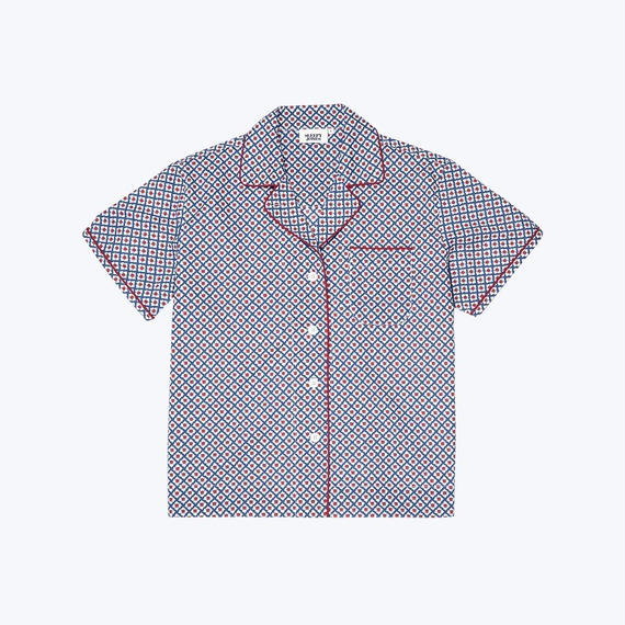 SLEEPY JONES // Corita Pajama Shirt WoodblockFoulard Print Small