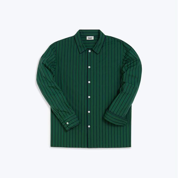 Henry Pajama Shirt // Tie Stripe Green & Navy