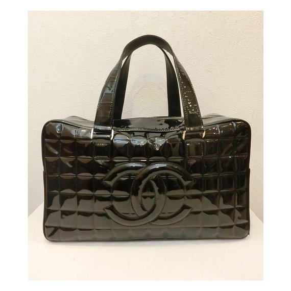 【vintage select】CHANEL エナメルキルティングボストンバッグ