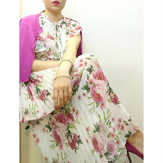 シフォン 花柄プリーツ ワンピース ピンク