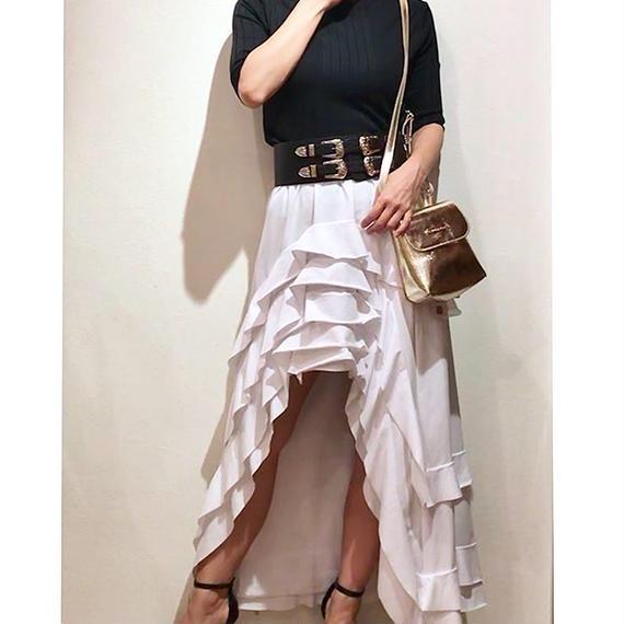 スウェット素材 フィッシュテールスカート ホワイト