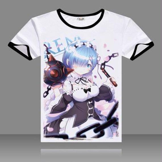 Re:ゼロから始める異世界生活 コスプレtシャツ 黒Oネック 半袖 プリントシャツ 男性 レム  8/22  46