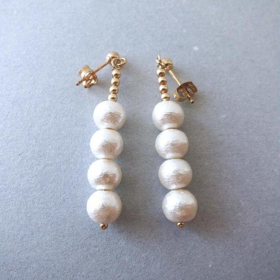 cotton pearl piaced earring (four piece)
