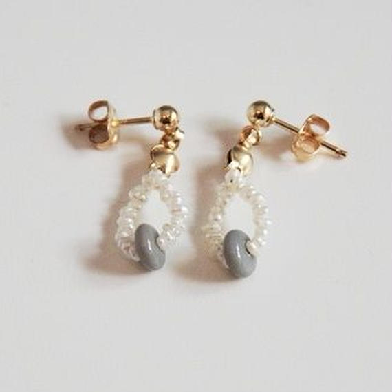 Pearl piaced earring (Gray)